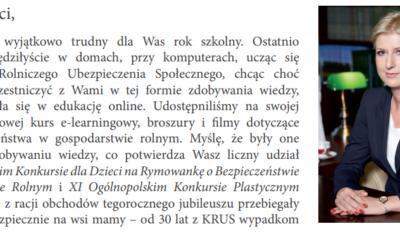 List Pani Prezes KRUS  w sprawie wakacji